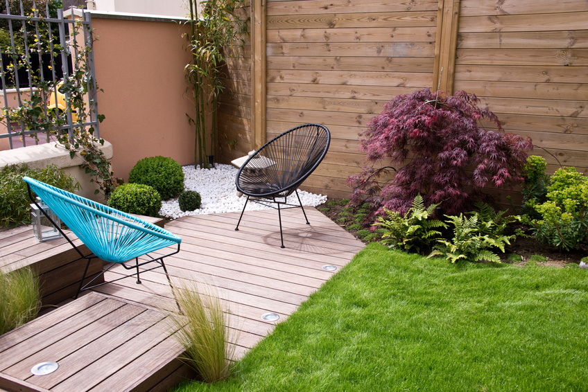 Terrasse et jardin moderne coin zen bois home for Jardin moderne photo